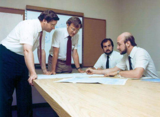 Hindon's engineering team in 1985